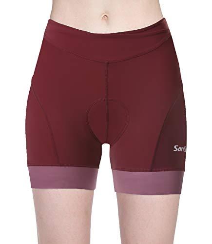 Santic Women's Cycling Shorts 4D Gel Spin Bike Classes Padding Plus Size Red