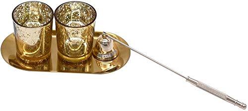 SOOMILE 2 PCS Gold Glas Teelicht Kerzenhalter mit Tablett Bulk Mercury Votiv Kerzenhalter für Hochzeitsfeiern Home Decoration   Modernes Wohnaccessoire