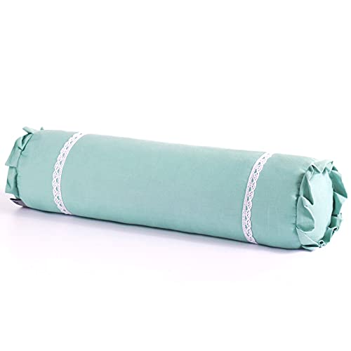Edomi Neck Roll Fillows Comfortable Buckwheat Cervical Fillow Lumbar Support Cushi on Round Cylinder Pillow for Sleeping Recliner Buckwheat Hulls Removable Fill Pillowcase(16x4inch,Blue)