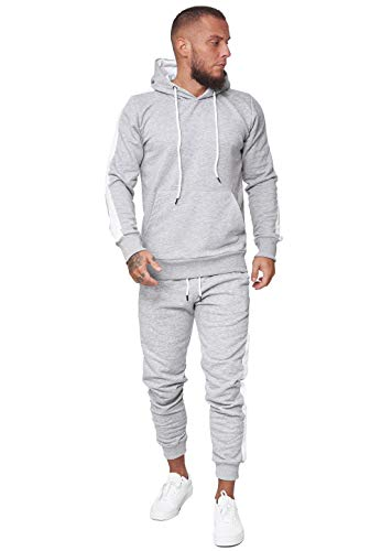 OneRedox Herren Jogginganzug Trainingsanzug Männer Sportanzug Fitness Outfit Streetwear Tracksuit Jogginghose Hoodie-Sporthose Sportkleidung Comfort Fit Modell JG-1571C (Grau, L)