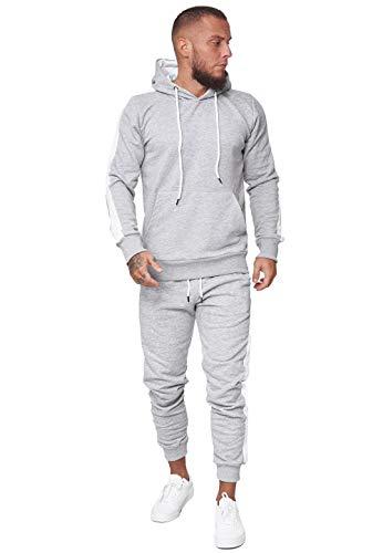 OneRedox Herren Jogginganzug Trainingsanzug Männer Sportanzug Fitness Outfit Streetwear Tracksuit Jogginghose Hoodie-Sporthose Sportkleidung Comfort Fit Modell JG-1571C (Grau, M)