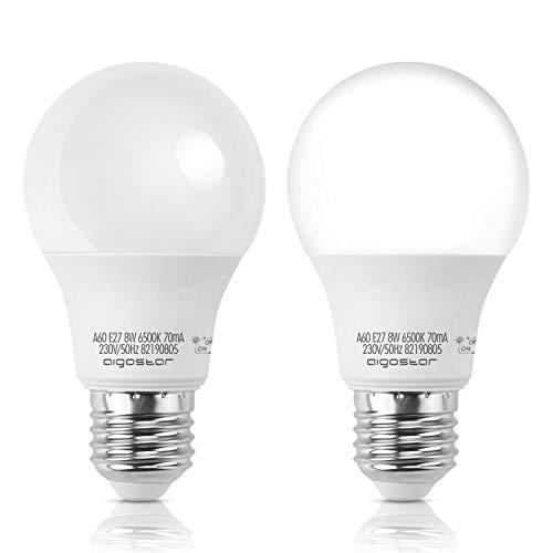 Aigostar Lampadina LED Sensore Crepuscolare, E27 Lampadina Con Sensore, 8W Luce Bianca 6500 Kelvin, 640 lumen, angolo del fascio 280 ° per Veranda Giardino Porta d'ingresso Corridoio. Pacco da 2 unità