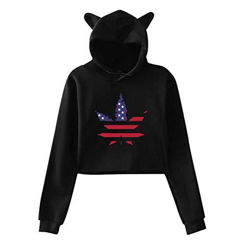 GPerlaAlva A-Pot-Leaf-With-An-American-Flag Cat Ear Hoodie Sweater Girls Crop Top Hip Hop Warm Cool(Xl,Black)