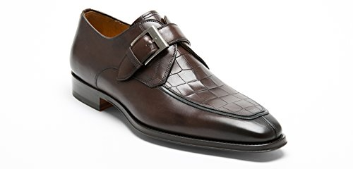 Magnanni Men's Rogelio Apron Toe Leather Monk-Strap Loafers Size US 11.5 M Brown