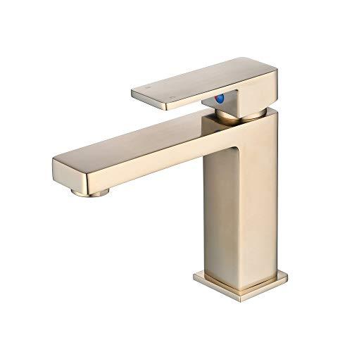 Baño grifos básicos modernos monomando grifos para lavabo y baño corto cepillado oro macizo latón gudetap GT7894BG
