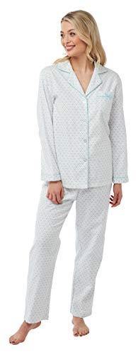 Damen Schlafanzug, 100 % gebürstete Baumwolle, kuschelig, für den Winter Gr. 52-54, weiß / blau