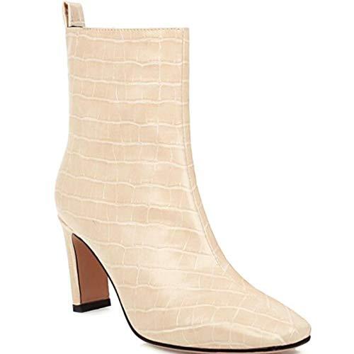 ZLFCRYP Damen Stiefeletten, Leicht Gefüttert Mit Blockabsatz, PU Leder Klassische Stiefel, Chunky Heel All-Match Boots apricot-40