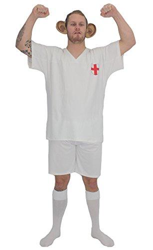 Kit de disfraz de Wayne Rooney para adultos de Inglaterra y orejas gigantes [L/XL]