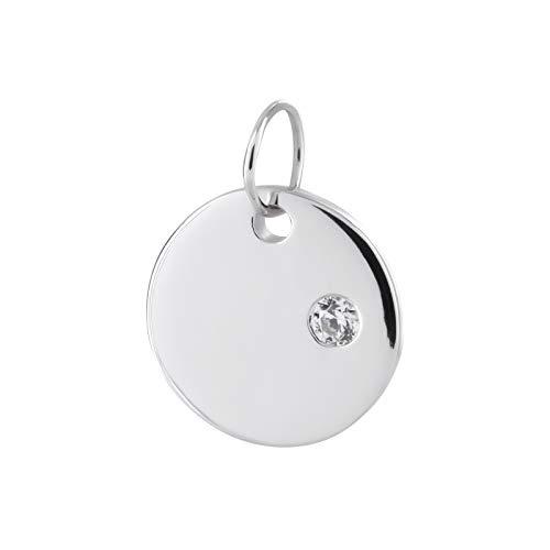 Laimons Damen-Anhänger Gravurplatte glanz Zirkonia Zirkonia Sterling Silber 925