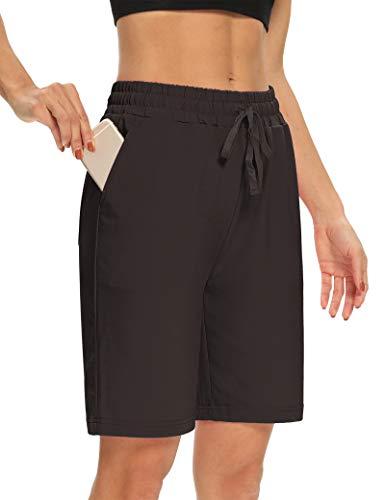 DIBAOLONG Womens Yoga Shorts Loose Comfy Drawstring Lounge Bermuda Shorts with 3 Pockets Brown L