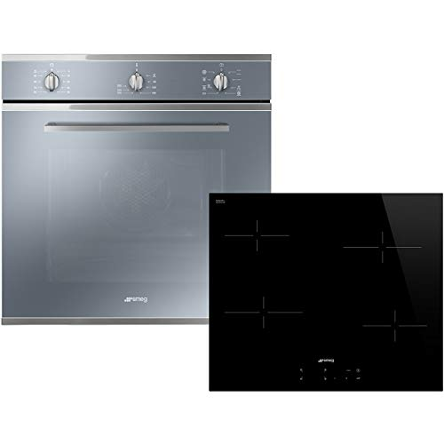 Smeg AOSF64M3C Oven & Hob Pack - Stainless Steel / Black