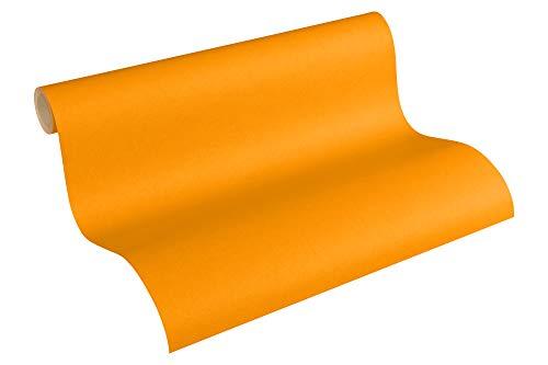 A.S. Création PVC-freie Vliestapete Little Stars Tapete Uni 10,05 m x 0,53 m orange Made in Germany 358346 35834-6