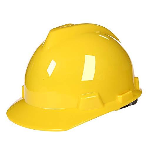 Casco protector Casco de trabajo, proteger la cabeza de hombres y mujeres en construcción, Casco Con la barbilla, de varios colores opcionales (Color : Yellow)