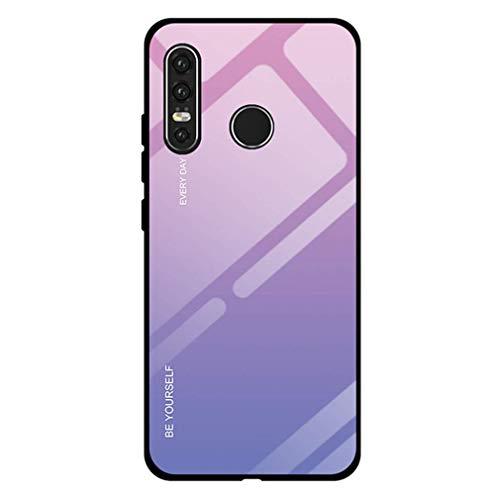 Compatible con Huawei Nova 4E, carcasa trasera de vidrio templado + carcasa rígida de policarbonato, marco de silicona suave, color degradado, protección para teléfono móvil rosa talla única