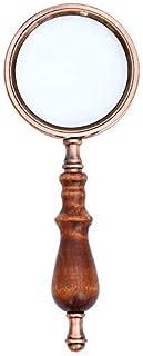 拡大鏡木製ハンドル拡大鏡レトロ拡大鏡小さなフォント高倍率拡大鏡ハンドヘルド拡大鏡ギフト88mm× 225mmハンドヘルド