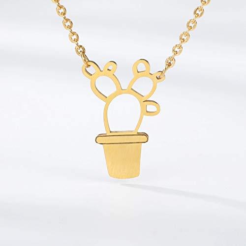 N/A Collar Colgante Kawaii Bonsai Cactus encantos Colgante Collar Flores pequeñas Plantas...