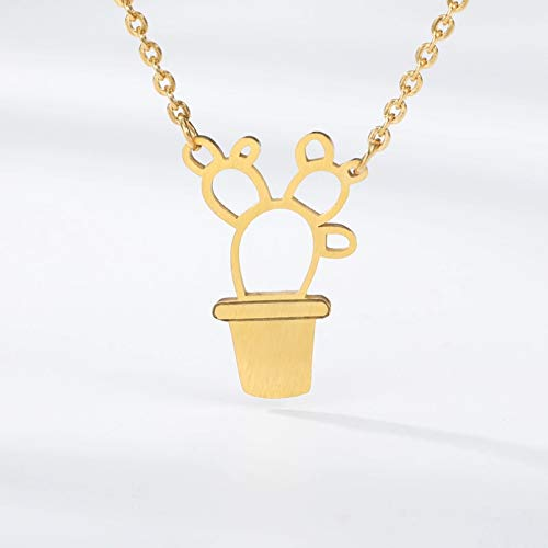 N/A Necklace pendant Kawaii Bonsai Cactus Charms Pendant Necklace Small Flowers Potted Plants Necklaces & Pendants Cute Style Girl Gift Accessories Christmas birthday Gift