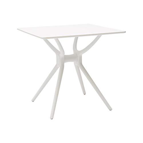 Table carrée avec plateau en bois laqué blanc et structure en polypropylène blanc (ARR604)