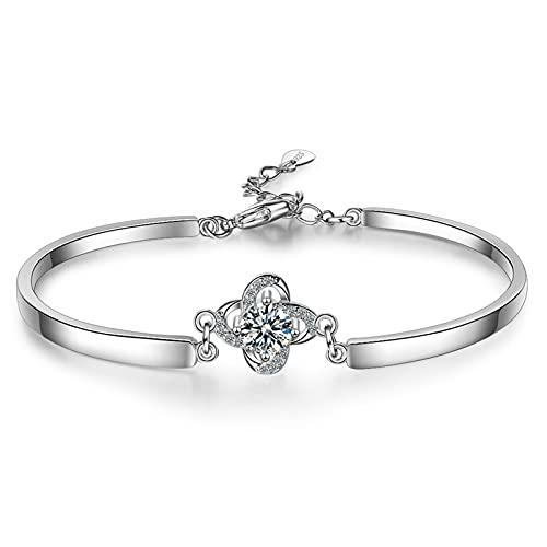 YSJJPQC Bracelets Sweet Rose Flower Shine Cubic Zirconia 925 Sterling Silver Lady Bracelets Women Choker Charms No Fade Gift (Length : 19.5cm)