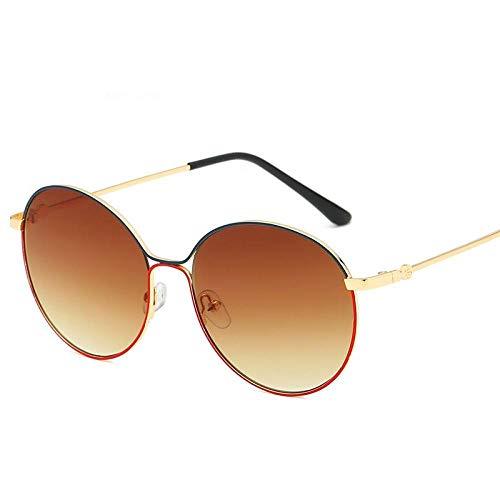 KONGYUER Sonnenbrille,Mode Braune Runde Linse Gold Metall Unisex-Brille Flache Gläser Uv-Schutz 400 Uv, Geeignet Für Reiten/Fahren/Laufen/Skifahren/Angeln/Unzerstörbar - Lange Lebensdauer
