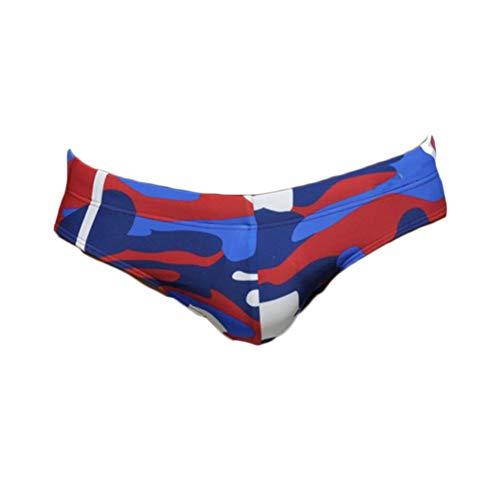 Quge Costumi da Bagno da Uomo Stampato Slip Bikini Boxer da Bagno Surf Spiaggia Mare Pantaloncini Beachwear N Camuffare Rosso XL