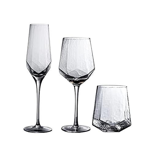 ZHOUYANG Diamante Martillado Vino nórdico Vintage champán Cristal Cristal Cristal Copa de Vino de Vino de Vidrio de Vidrio, Paquete de 3 (Color : Transparent)