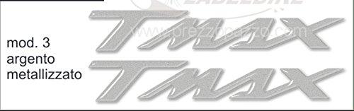 Adhésifs/Stickers Résine 3D Écrit Tmax Ergal pour Scooter Moto Yamaha T Max 500-530 - Argent