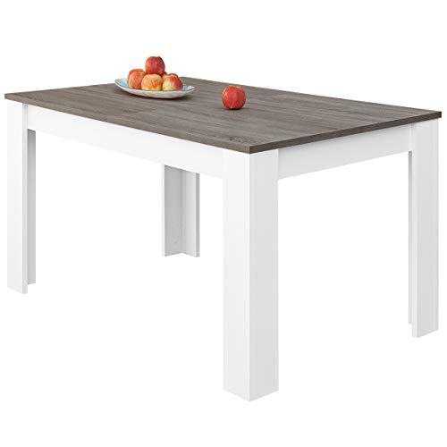COMIFORT T24 – Mesa De Comedor Extensible Moderna De 140 Cm A 190 cm, Colores Blanco, Blanca-Madera Roble, Roble, Wengue, Nordic (Blanco/Gris DATCH)