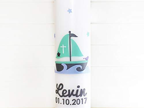 Taufkerze Segelboot Jungen, Mädchen, Kommunionkerze, Arche Noah, Boot, Kerzen, Taufe, Wachs, handgemacht, weiß, 275x70mm, made in germany