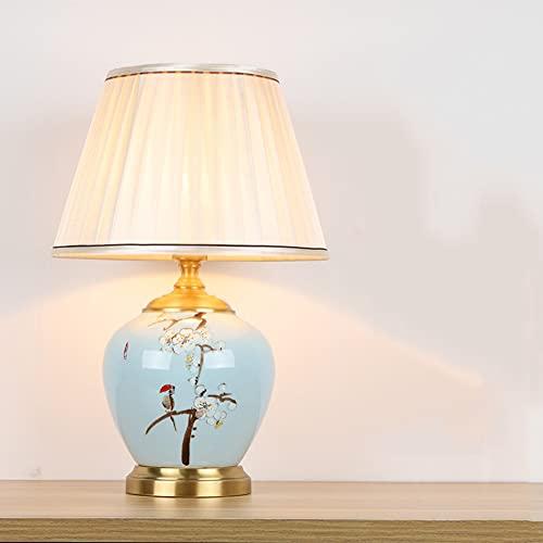 WUYIGE Nueva lámpara de mesa de cerámica china, hardware de cobre, dormitorio, lámpara de noche, tela, sala de estar, decoración de hotel de cobre, luz de noche retro, 4 tipos E27, voltaje del soporte