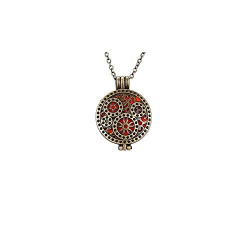 Moligin Caja de Perfume Creativa Collar hipoalergénico Hueco diseñado Collar Delicado Caja Redonda Colgante Collar Elegante Collar de Lujo (1pcs)