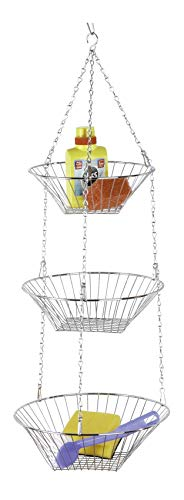 WENKO Küchenampel Trio, Küchenaufbewahrung mit 3 Etagen zum Aufhängen aus Metall, Ø 28 x 77 cm, silber glänzend