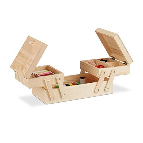 Costurero plegable de madera Relaxdays de 5 compartimentos, sin contenido, asa, aspecto natural Dimensiones: 12 x 26 x 15,5 cm