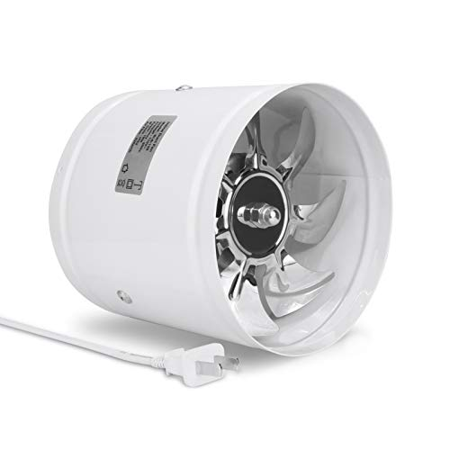 """Hugoome 6 inch Inline Duct Fan 188CFM Ventilation Exhaust Fans Long Power Cord 96CM Metal Blade Boost Airflow Vent for HVAC Kitchens Bathrooms Green Rooms(6""""/150mm),White"""