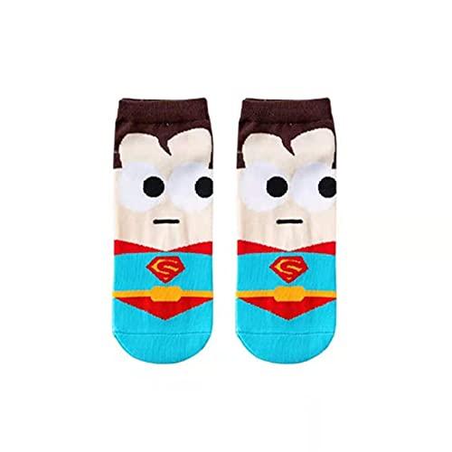 TENGCHUANGSM Cómodo 5 pares de superhéroes liga barco calcetines invisibles transpirables absorbentes del sudor personalidad dibujos animados calcetines | masculino