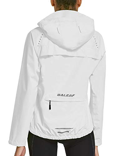 BALEAF Women's Cycling Jacket Rain Jackets Wind Breakers Hiking Running Waterproof Windproof Golf Reflective Lightweight White Size M