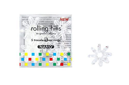 Rolling Hills - 5 Mini Élastiques Cheveux sans Trace - Anneaux Spirale Nano pour Attacher les Cheveux - Ne Marquent pas, ne Tirent pas - Élastiques Imperméables et Hygiéniques - Transparents