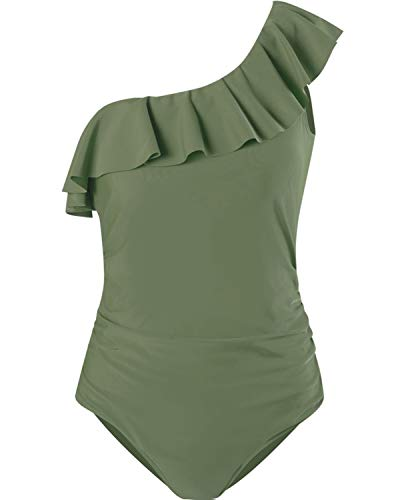 SouqFone Swimwear for Women Asymmetric Tummy Control Swimsuits Ruffled One Shoulder Plain Tankini Bathing Suits - 3XL, Army Green