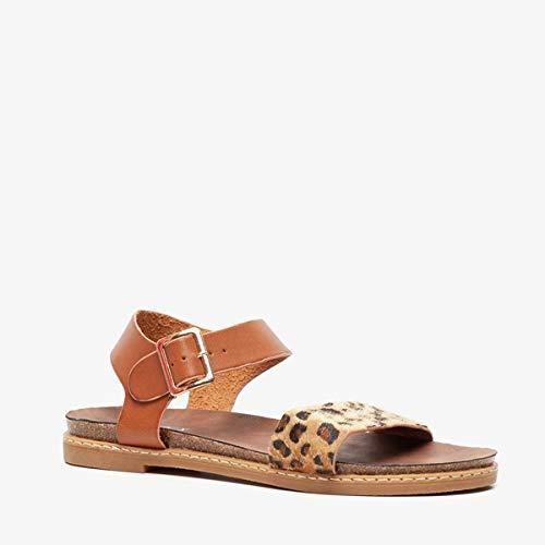Blue Box dames sandalen met dierenprint - Cognac