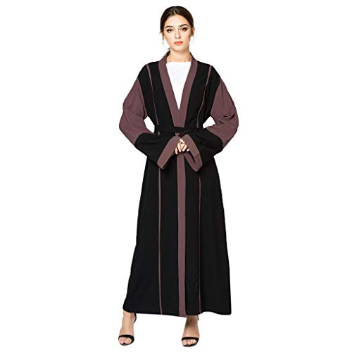 Aiserkly - Cárdigan termostático estilo Dubia Abaya Kaftan Trend Jilbab Islámico Maxi vestido de gasa con encaje negro Negro Negro ( XXXL