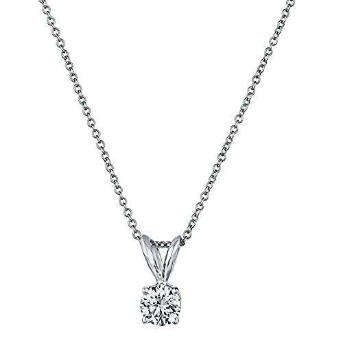 "Premium Diamond Pendant Necklace for Women - AGS Certified Real Diamond 4-Prong Pendant Necklace with 16""+2"" Extender - 14K Gold Diamond Pendant - Fine Jewelry for Women"