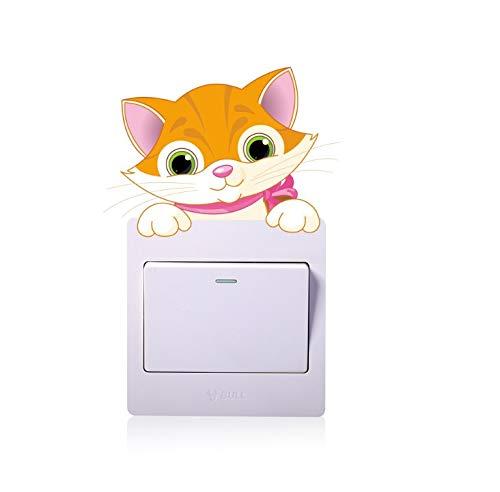 AK.SSI Schalter-Aufkleber für Wohnzimmer, TV, abnehmbarer Wandaufkleber, für Kinder, Lichtschalter-Aufkleber, 1 Stück katze