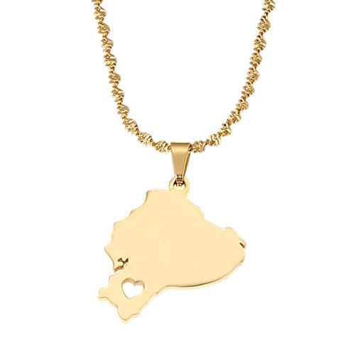 ASDWA Collar De Mapa,Mapa De Ecuador Vintage Color Dorado Colgante con Corazón Colgante Único Collar Amuleto Joyas Regalo Patriótico para Hombres Regalos para Mujeres Regalo para El Día del Padre