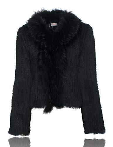 HEIZZI Gestrickt Kaninchenfell Jacke mit Waschbärpelz Halsband Mantel