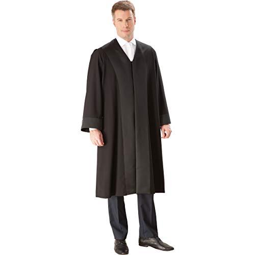 die Robe – Schwarze Rechtsanwalts-/Anwaltsrobe für Herren aus Reiner Schurwolle mit Atlas Besatz – Größe XL (52/54)