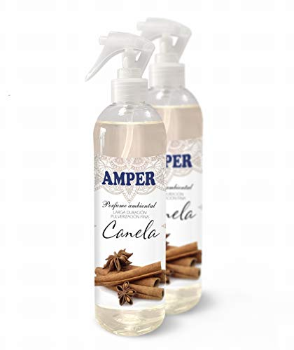 AMBIENTADOR AMPER 500 ml (PACK 2 UNIDADES) AHORRO 4€ - Ambientador Spray Pulverización Fina. Larga duración. Aroma Fresco (Canela)