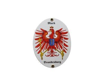 Brandenburg Mark Emaille Schild Mark Brandenburg 11,5 x 15 cm Emailschild Oval.