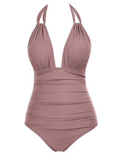 costume mare donna leopardato rosa Zexxxy Donna Costumi Interi da Spiaggia Costume da Bagno Triangolo Ruched Controllo Addominale Regolabile Swimsuit