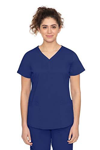 Purple Label by Healing Hands Scrubs Women's Jane V-neck 2 Pocket Top, Medium - Navy