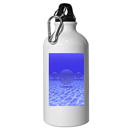 Botella de agua subacuática Vaporwave Spheres de aluminio, reutilizable, para senderismo, color blanco, 400 ml